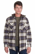 Grizzly Mens Tioga Flannel Hooded Coat - Pine