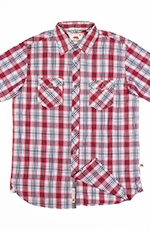 Dakota Grizzly Mens Wendall Short Sleeve Plaid Snap Western Shirt - Apple
