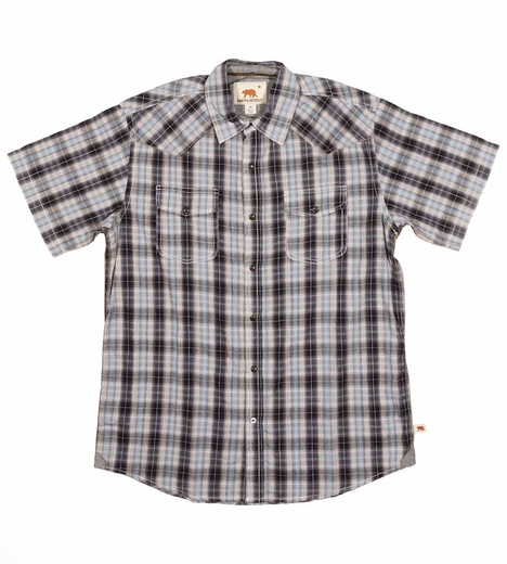 Dakota Grizzly Mens Brodi Short Sleeve Plaid Snap Western Shirt - Haze (Closeout)