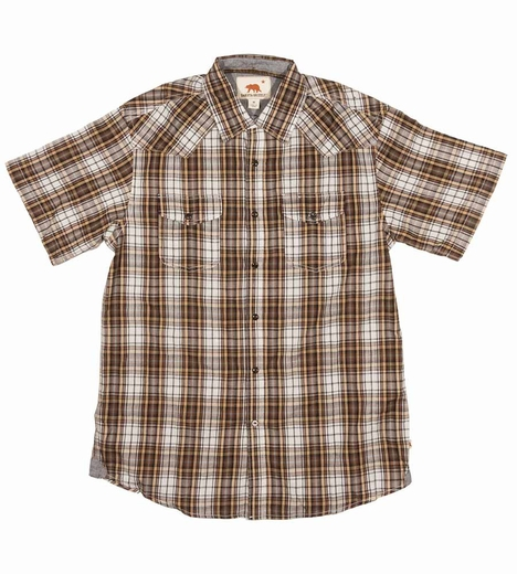 Dakota Grizzly Mens Brodi Short Sleeve Plaid Snap Western Shirt - Mustang