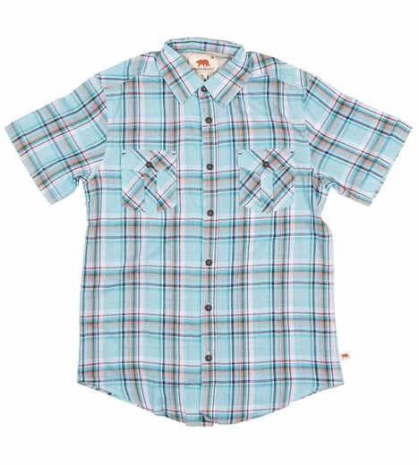 Dakota Grizzly Mens Dixon Short Sleeve Plaid Snap Western Shirt - Pond