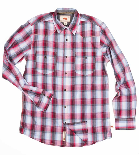 Dakota Grizzly Mens Harper Plaid Western Shirt - Garnet