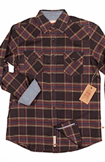Dakota Grizzly Mens Zane Plaid Flannel Western Shirt - Java