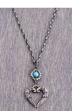 "Harper Belle Boardwalk 17"" Sterling Silver Necklace with Angel Heart Pendant"
