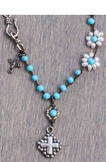"Harper Belle Cloud 17"" Beaded Necklace with Cross Pendant"