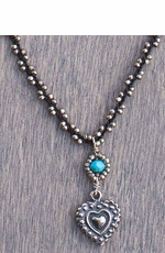 Harper Belle Mussel Silver Bead Necklace with Heart Pendant