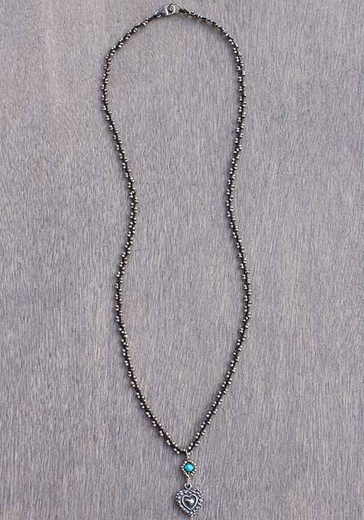 Harper Belle Mussel Silver Bead Necklace with Heart Pendant (Closeout)