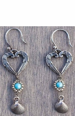 Harper Belle Pipeline Sterling Silver Heart and Shell Earrings