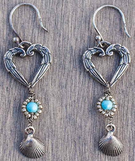 Harper Belle Pipeline Sterling Silver Heart and Shell Earrings (Closeout)
