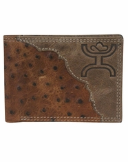 Hooey Men's Signature Ostrich Print Bi-Fold Wallet - Brown