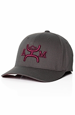 HOOey Mens 12 Flexfit Cap - Dark Grey/Maroon (Closeout)