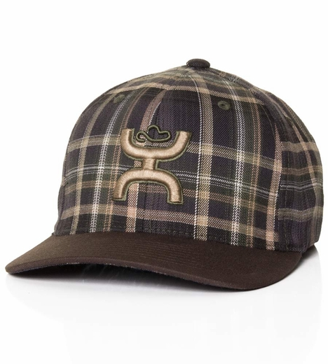 HOOey Mens Alpine Plaid Cap - Military Green/Brown (Closeout)
