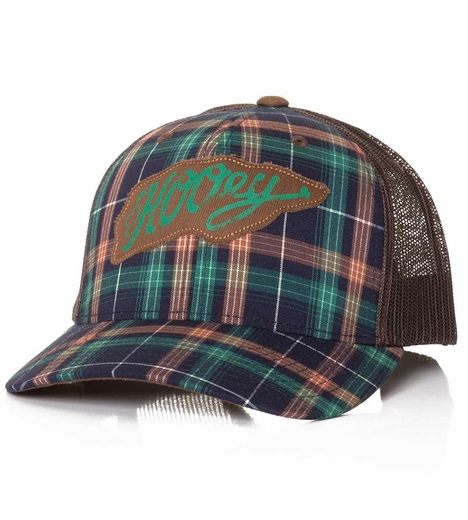 HOOey Mens Latigo Plaid Trucker Hat - Brown/Navy (Closeout)