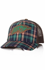 HOOey Mens Latigo Plaid Trucker Hat - Brown/Navy
