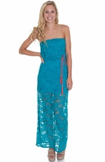 JFW Womens Lace Maxi Dress - Turquoise (Closeout)