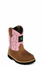 John Deere Children's Boots - Johnny Popper Wellington (Brown/Pink) (Closeout)