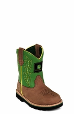 John Deere Children's Boots - Johnny Popper Wellington (Green/Brown) (Closeout)