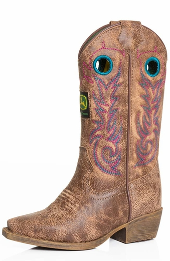 John Deere Childrens Western Boot  - Tan Crackle Goat