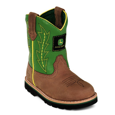 John Deere Infant Boots - Johnny Popper Wellington (Green/Brown)