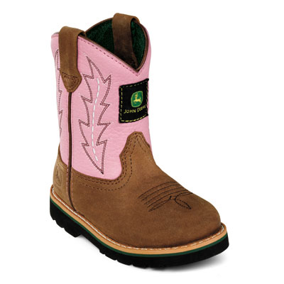 John Deere Infant Boots - Johnny Popper Wellington (Pink/Brown) (Closeout)