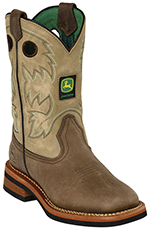 John Deere Johnny Popper Childrens Square Toe Cowboy Boots - Sanded Tan