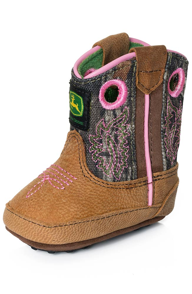 Deere Johnny Popper Infants Crib Boots - Tan/Pink/Camo