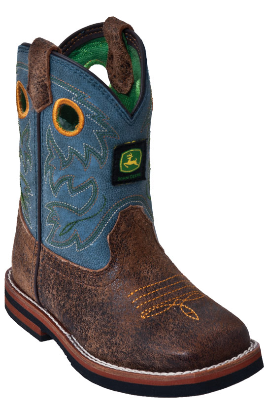 John Deere Johnny Popper Toddlers Square Toe Cowboy Boots - Sanded Blue