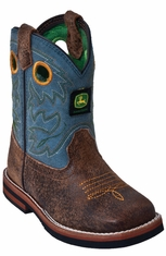 John Deere Johnny Popper Toddlers Square Toe Cowboy Boots - Sanded Blue (Closeout)