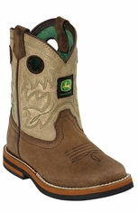 John Deere Johnny Popper Toddlers Square Toe Cowboy Boots - Sanded Tan (Closeout)