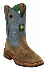 John Deere Johnny Popper Youth Square Toe Cowboy Boots - Sanded Blue (Closeout)