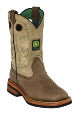 John Deere Johnny Popper Youth Square Toe Cowboy Boots - Sanded Tan
