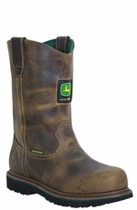 "John Deere Men's 10"" Waterproof Wellington Work Boots - Aged Oak (Closeout)"
