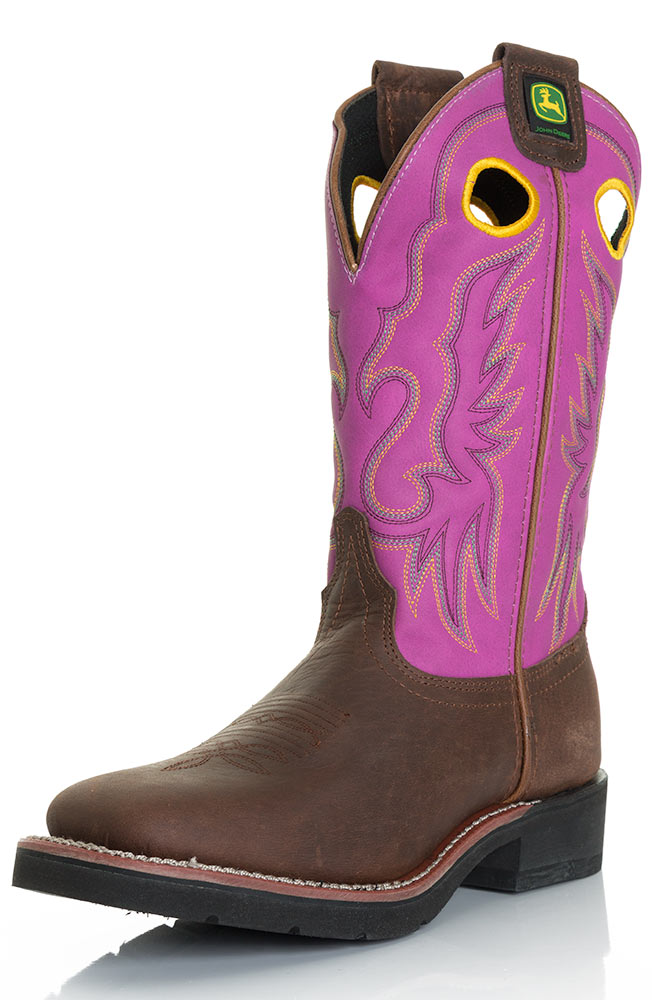 John Deere Womens Western Pull-On Cowboy Boot - Barnwood/Fuschia (Closeout)