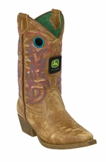 John Deere Johnny Popper Youth Cowboy Boots - Tan Crackle Goat (Closeout)