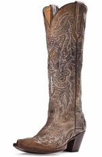 "Johnny Ringo Womens Sagrada 15"" Studded Snip Toe Cowboy Boots (Closeout)"