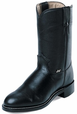 "Justin Basics� Men's 10"" Western Roper Boots - Black Cow"