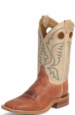 "Justin Bent Rail Men's 11"" Square Toe Cowboy Boots - America Burnt Orange Calf"