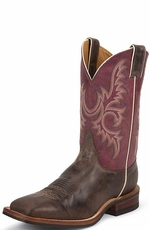 "Justin Bent Rail Men's 11"" Square Toe Cowboy Boots - Chocolate America"