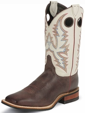 "Justin Bent Rail Men's 11"" Square Toe Cowboy Boots - Ivory Tumbled Cowhide"