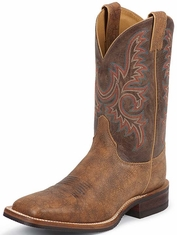 "Justin Bent Rail Men's 11"" Square Toe Cowboy Boots - Old Map"
