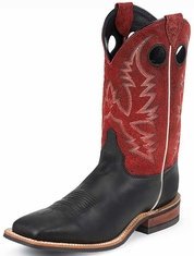 "Justin Bent Rail Men's 11"" Square Toe Cowboy Boots - Red Crackle"
