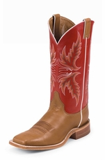 "Justin Bent Rail Men's 13"" Cowboy Boots - Red/Brandy Burnished Calf"