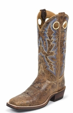 "Justin Bent Rail Men's 13"" Square Toe Cowboy Boots - Tan Puma"