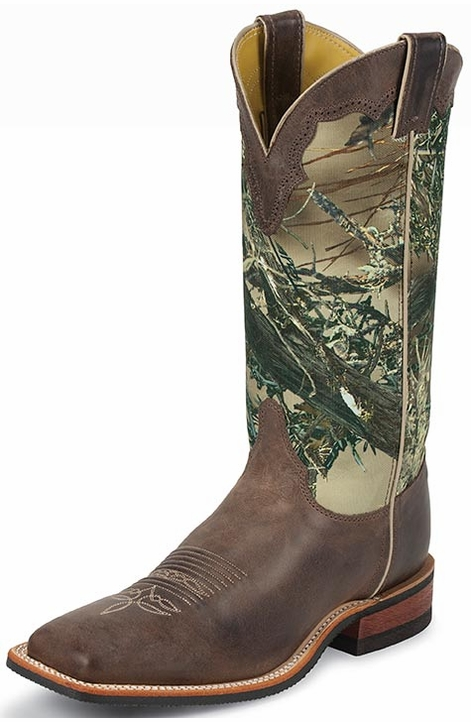 "Justin Bent Rail Men's 13"" Square Toe Cowboy Boots - True Timber"