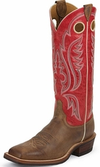 "Justin Bent Rail Men's 15""  Square Toe Cowboy Boots - Arizona Mocha"