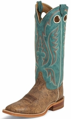 "Justin Bent Rail Men's 15"" Square Toe Cowboy Boots - Old Map Cow"