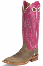 "Justin Bent Rail Men's 15"" Square Toe Cowboy Boots - Tan Ponteggio"