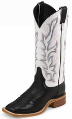 "Justin Bent Rail Women's 13"" Boots - White/Black"