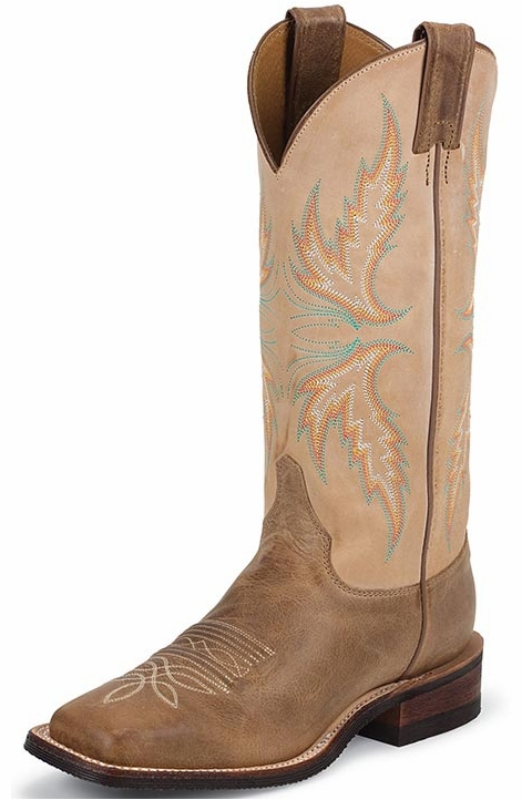 "Justin Bent Rail Women's 13"" Square Toe Cowboy Boots - Arizona Mocha"