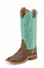 Justin Bent Rail Women's Chocolate Burnished Calf Cowboy Boots - Seagreen